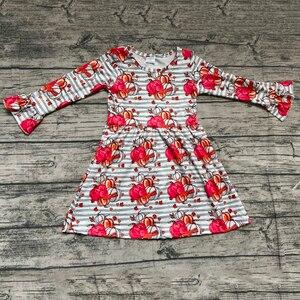 Платье в полоску с длинным рукавом и изображением тыквы на День Благодарения