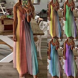 Dress Women Summer 2021 Plus Size Vintage Dress Loose Casual Stripe V-Collar Long Maxi Dress for Party Beach Dress Платья платье
