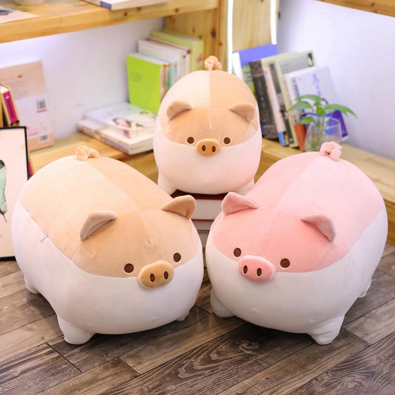 2021 New Pig Stuffed Plush Doll Lying Plush Fatty Piggy Toy Brown/Pink Animals Soft Appeasing Plushie Kids Comforting Gift недорого