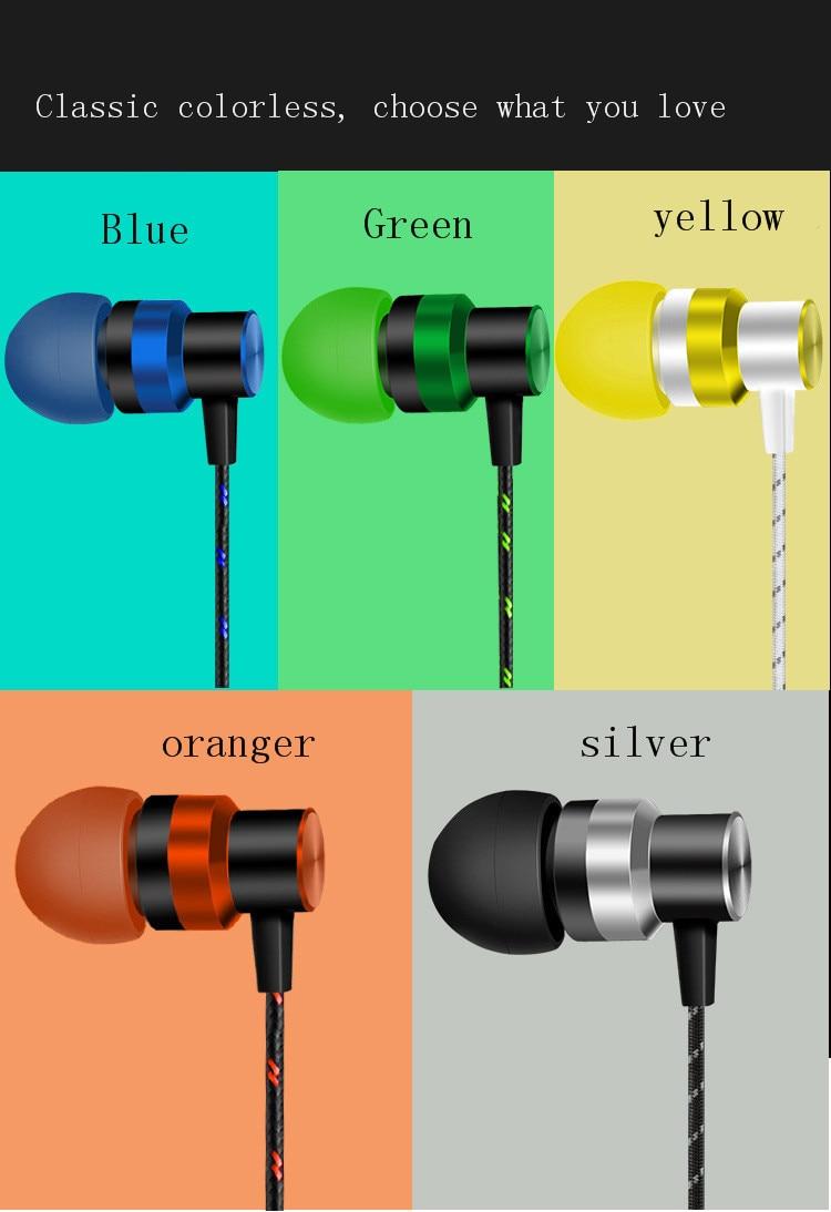 1 Uds recto-inserta en la oreja los Eardphone portátil de Control de la línea de deportes Wweat-prueba Subwoofer auriculares