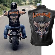 Мужской кожаный мотоциклетный жилет с вышивкой, куртка с черепом, мужские Весенние куртки, черный мотоциклетный жилет