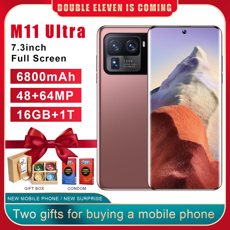 M11 Ultra 16 + 1T هاتف ذكي أندرويد 6800mah كوالكوم سنابدراجون 888 عشاري النواة هاتف محمول 5G بطاقة مزدوجة مقفلة هاتف محمول s