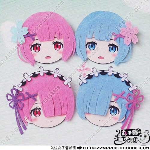 Cute Anime  Rezero kara hajimeru isekai seikatsu Rem Ram Cosplay Badge Nonwoven fabric Button Brooch Pin Bedge Gifts