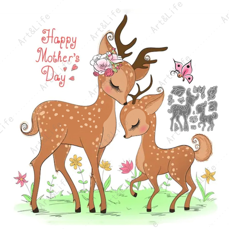 Happy Mother's Day Cute Deer New Metal Cutting Dies Stencils for Making Scrapbooking Album Birthday Card Embossing Cut Dies