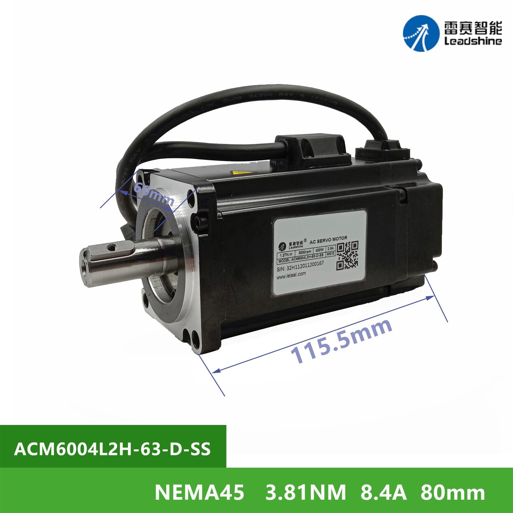 NEMA45 Leadshine ACM6004L2H-63-D-SS 3.81Nm 8.4A عالية الجهد محرك مؤازر 2 المرحلة رمح القطر 14 مللي متر