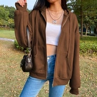 biggorange brown zip hooded sweatshirt winter jacket top oversized hoodie retro pocket woman clothes long sleeve pullover