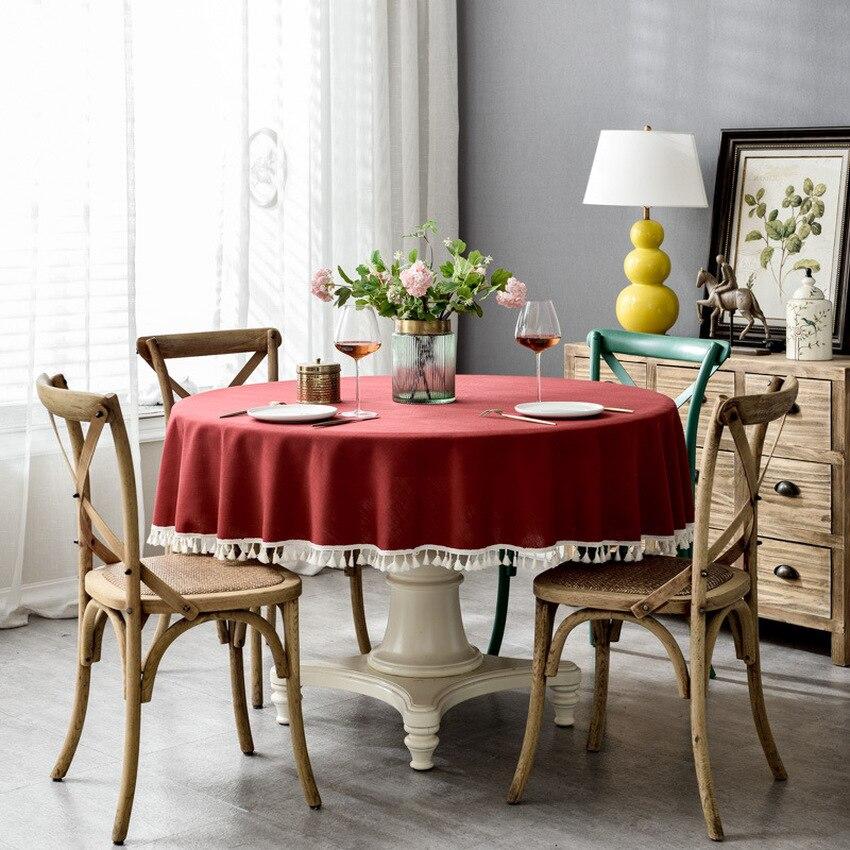 Nórdico redondo borla pano de mesa poliéster alta qualidade cor sólida tecido para mesa jantar festa em casa capa de mesa dustproof