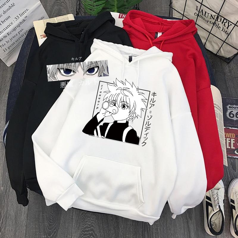 Женские толстовки Hunter X Hunter женские пуловеры толстовки свитшоты Killua Zoldyck Devil Eye печатные худи в стиле аниме толстовки Топы