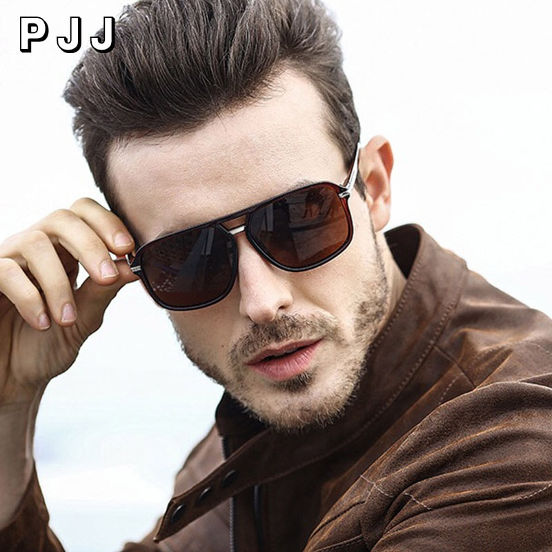 PJJ 2020 Fashion Men Cool Square Style Gradient Sunglasses Driving Vintage Brand Design Cheap Sun Gl