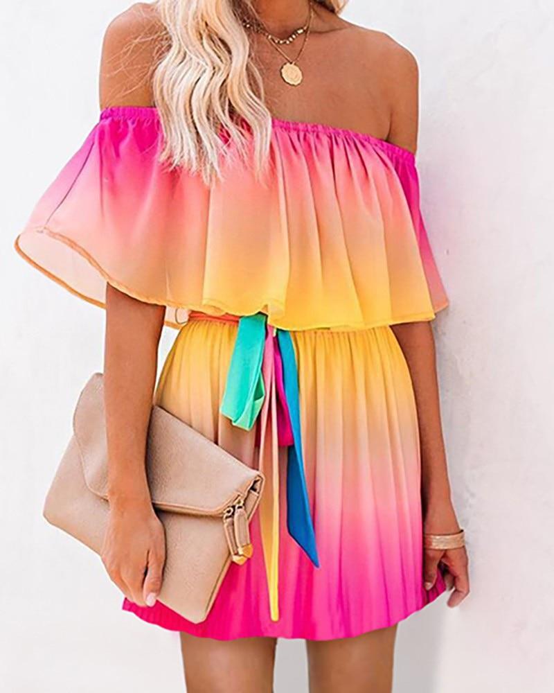 off shoulder self tie waist dress Women's Gradient Color Dress Slash Neck Tie Dye Off Shoulder Ruffles Vintage Casual Dresses Mini Dress Elegant Fashion Dress