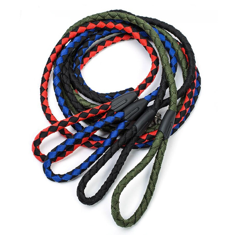 Correas de nailon para entrenamiento de perros, suministros para mascotas, arnés para caminar, Collar, cuerda para perros, gatos, cuerda de tracción trenzada de nailon