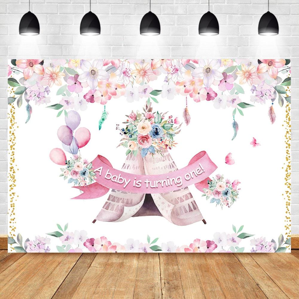 Neoback Baby Shower fondo de flores Boho tiepee fotografía telón de fondo rosa flor globo Baby Shower fiesta Banner Backdrops