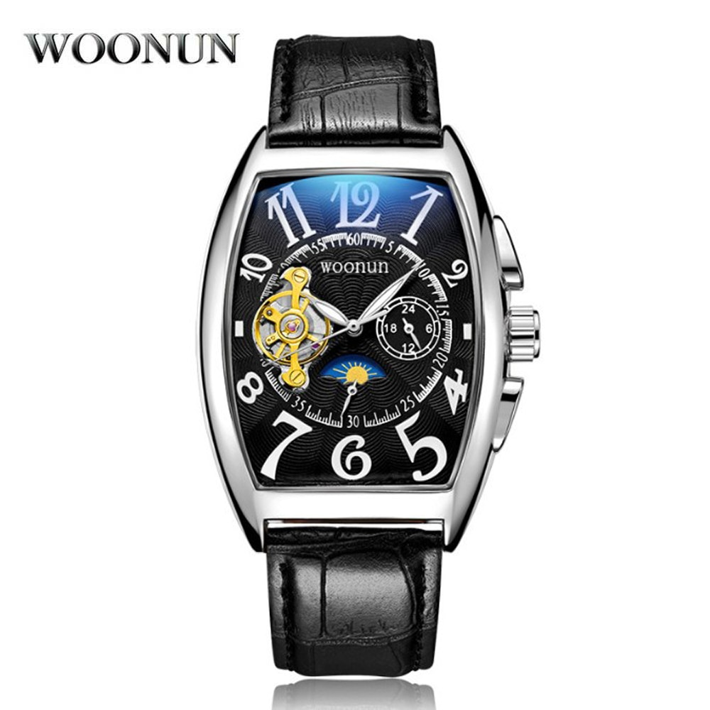 Reloj de hombre de lujo a la moda a prueba de agua reloj mecánico hombres Tonneau relojes automáticos correa de cuero erkek kol saati montre homme