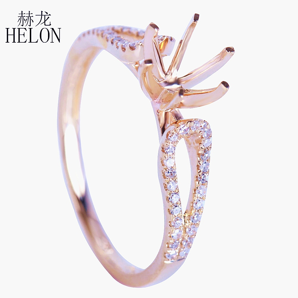 HELON 6mm-6,5mm corte redondo sólido 10K oro amarillo 0.2CT diamantes naturales auténticos compromiso boda Semi anillo de montaje joyería fina