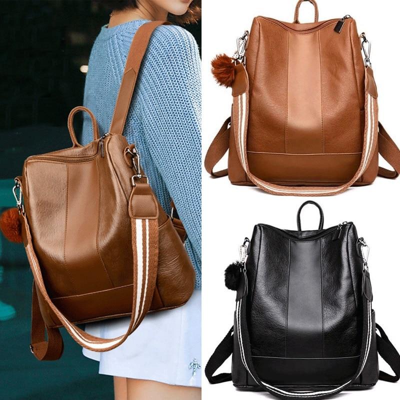 Direct Deal Women Girls Backpack Casual PU Leather Rucksack Shoulder Satchel School Book Bag