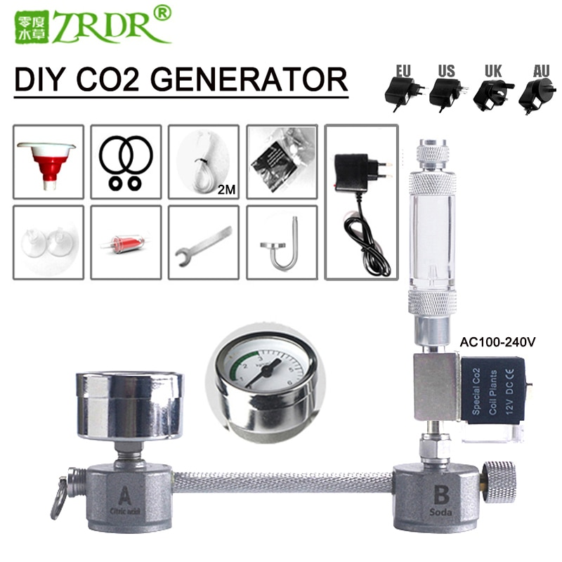 ZRDR Aquarium DIY CO2 generator system kit CO2 generator, bubble counter diffuser with solenoid valve,For / Aquatic plant growth