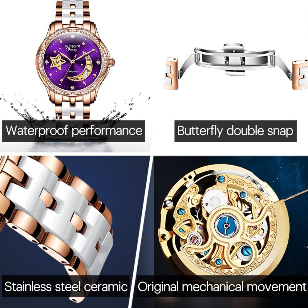 Women's automatic mechanical wristwatch luxury top brand watch tungsten steel watchband waterproof hollow design female clock enlarge