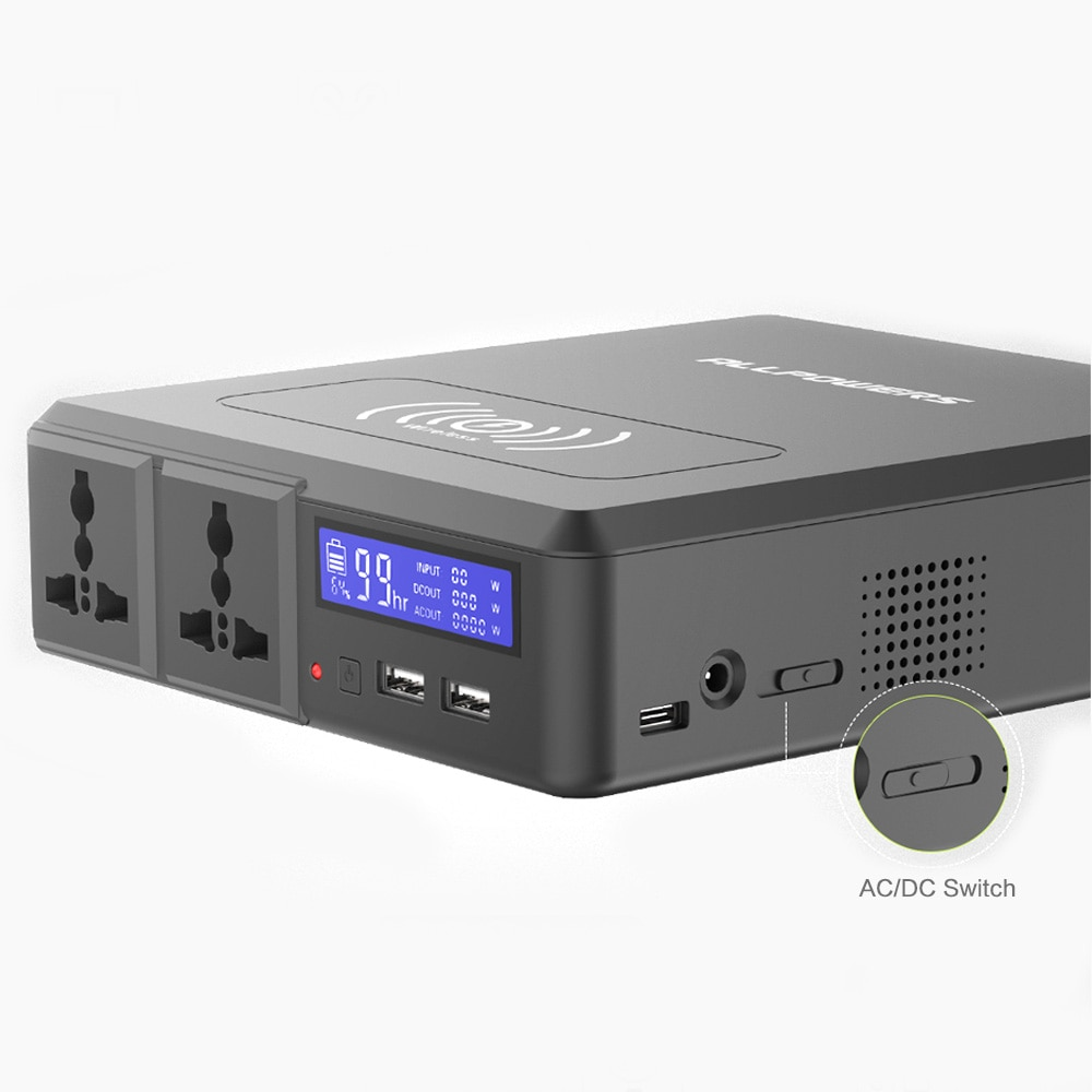 ALLPOWERS 154Wh/41600mAh Portable Power Station with 100V 110V 220V 230V AC DC USB Wireless Charging for Outdoors Camping Travel