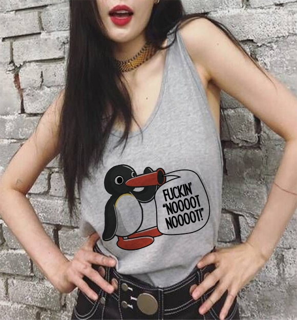 Plus Size Womens Summer Fashion Penguin Print Ladies Casual Gray T-shirt Top Harajuku Street Clothes Short Sleeve O-neck Top