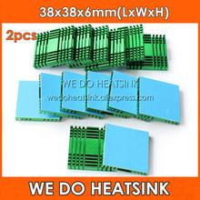 Nós fazemos dissipador de calor de alumínio verde do radiador de refrigeração 38x38x6mm diy dos pces 2 para o chipset da ponte do sul/norte com fitas térmicas