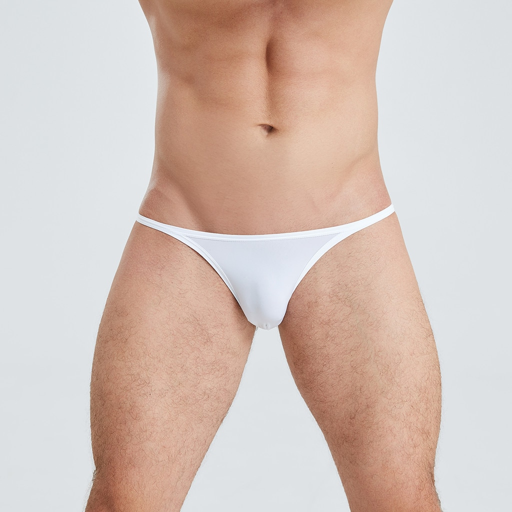 Calzoncillos de cintura baja sexis de seda hielo para Hombre, Mini bragas ajustadas, bragas translúcidas, Bikini, Ropa Interior para Hombre Gay