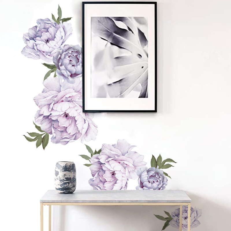 New Style Purple Peony Wall Stickers Bedroom Living Room Decoration Mural Home Decor Decals Removable Flowers Stickers Wallpaper