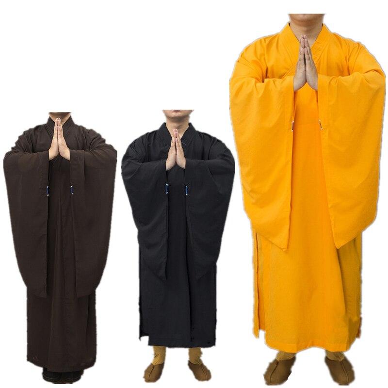 Ropa budista Unisex bata tipo monje Zen meditación Shaolin Temple uniforme de kungfú 3 colores transpirable monje batas de disfraces