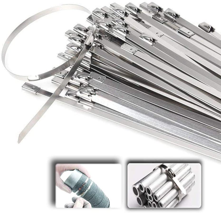 10 Pcs Heavy Duty Self-Locking Stainless Steel Cable Ties Multi-Purpose Metal Locking for Home Office Garage Workshop