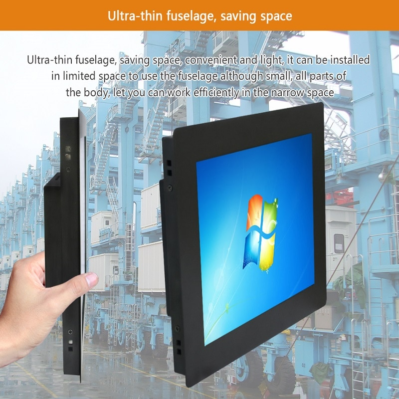 New 12 Inch Industrial Display Monitor Resolution 1024*768 VGA Interface Metal Shell Cool HDMI LCD Touch Screen Buckles Mounting