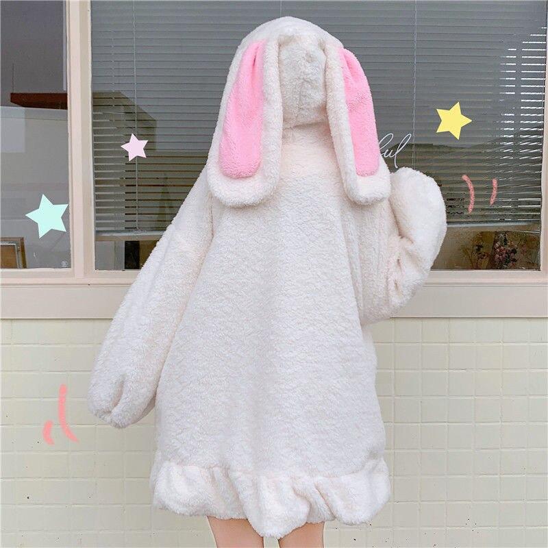 المتناثرة Kawaii أرنب الأذن البلوز هوديي النساء الشارع الشهير الشتاء زائد حجم النساء فضفاضة هوديي لطيف اليابان المتناثرة الملابس