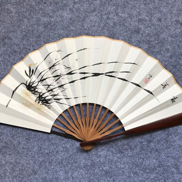 Abanicos De bambú De estilo chino encaje decorativo tela De seda Abanicos...