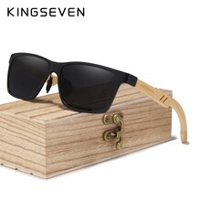 KINGSEVEN Fashion Polarized Aluminum+Bamboo Natural Wooden Handmade Sunglasses Men UV400 Eyewear Wom