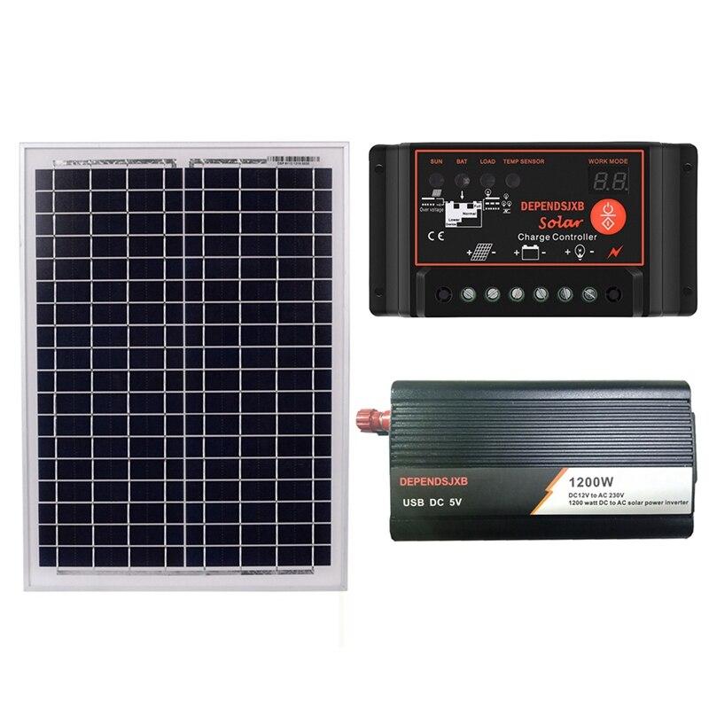Panel Solar 18V20W + controlador 12V 50A/60A + inversor de 1200W Dc12V-Ac230V Kit de generación de energía Solar, para exteriores y domésticos (60a)