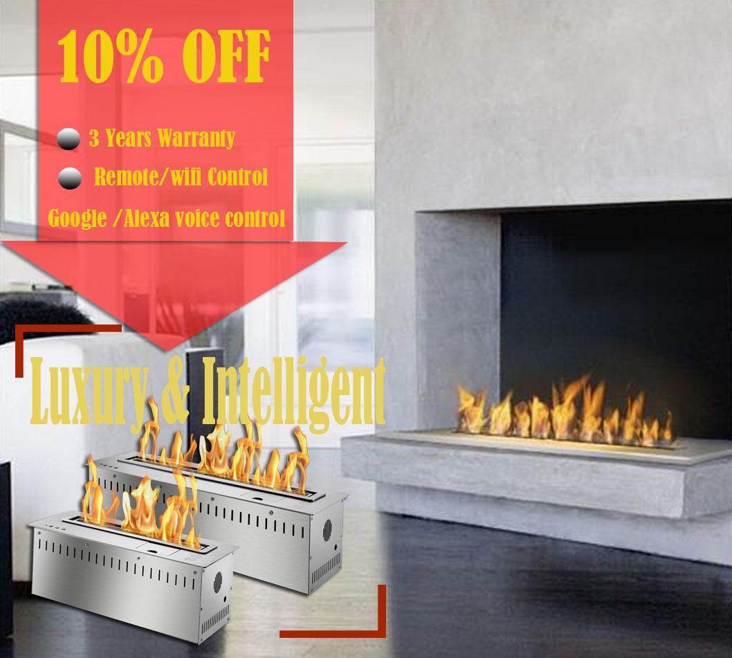 Inno living fire 48 polegadas lareira moderna etanol ventless inserção do queimador remoto