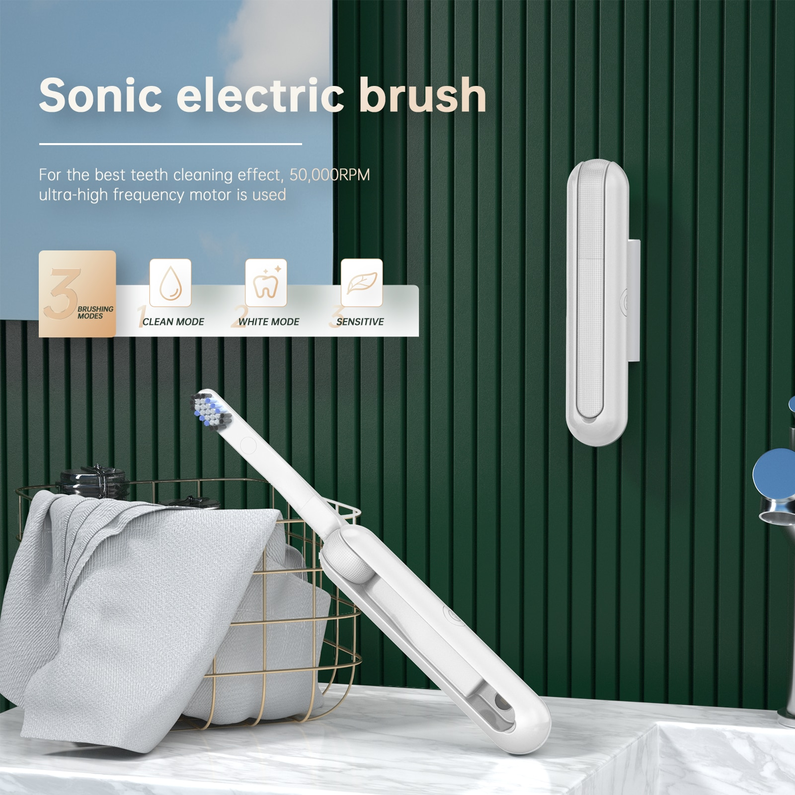 UTC600 Ultrasonic Electric Toothbrush Portable Wireless Charging UV sterilization Disinfection Electric Folding Toothbrush enlarge
