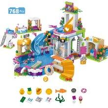 768 pièces compatibles amis ville été piscine blocs de construction briques chiffres enfants jouets pour les filles enfants