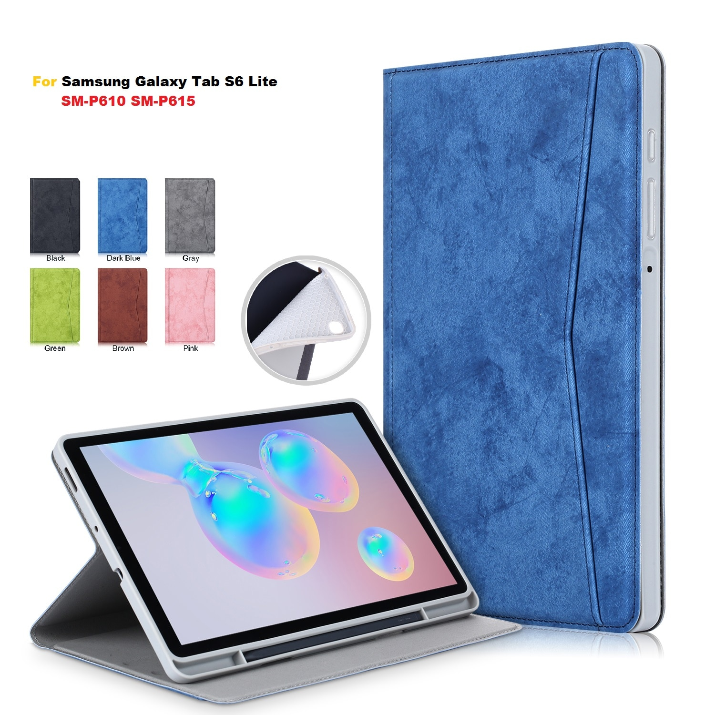 Funda para Samsung Galaxy Tab S6 Lite 10 4 pulgadas SM P610 P615, funda con portalápiz, cartera, soporte para Tablet para Samsung S6 Lite