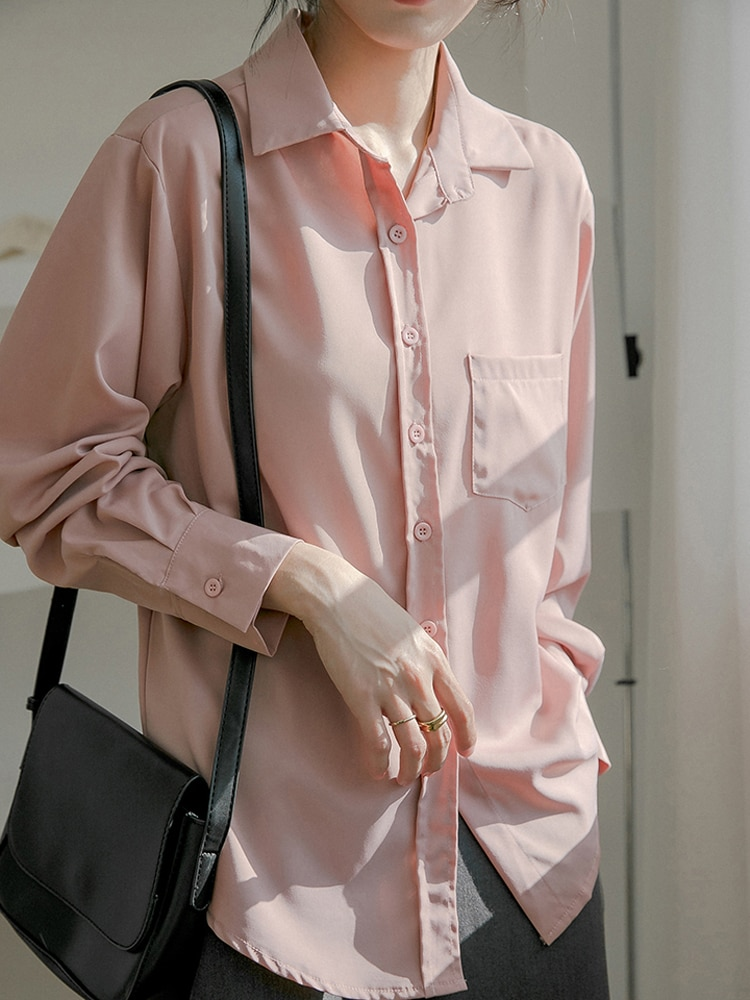 Hf1fc582378c241889a04b5f83d130902G - Spring / Autumn Turn-Down Collar Long Sleeves Solid Pocket Blouse