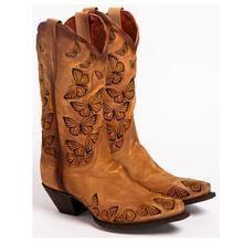 Bottes de cow-boy papillon brodés bronzage pour femmes, bottes occidentales pour femmes, rétro hautes au genou, bottes de Cowboy en cuir faites à la main