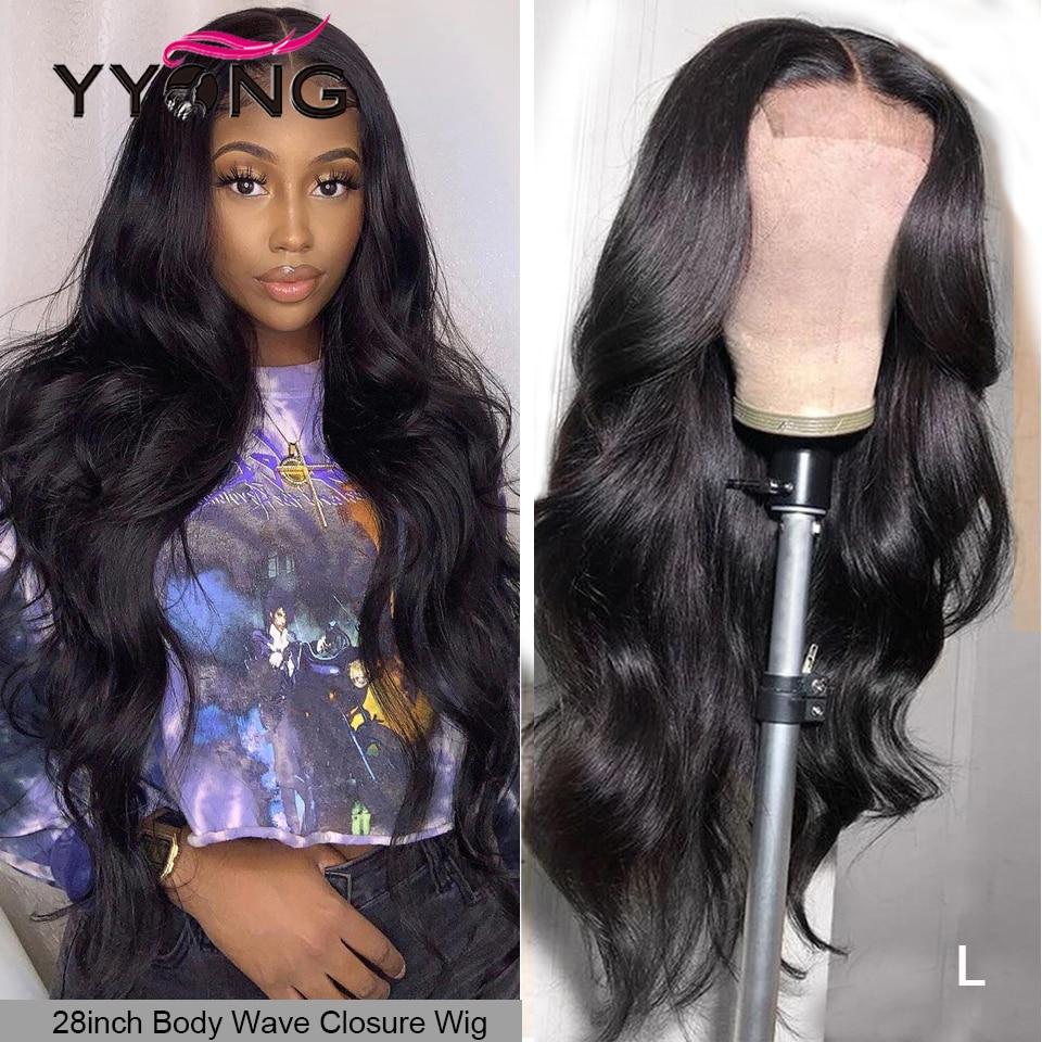 Perruque Lace Closure Wig Remy indienne   Cheveux naturels longs, Body wave, 4x4 5x5, 32 pouces, pre-plucked, avec Baby Hair, 120% de densité, perruque pour femmes africaines