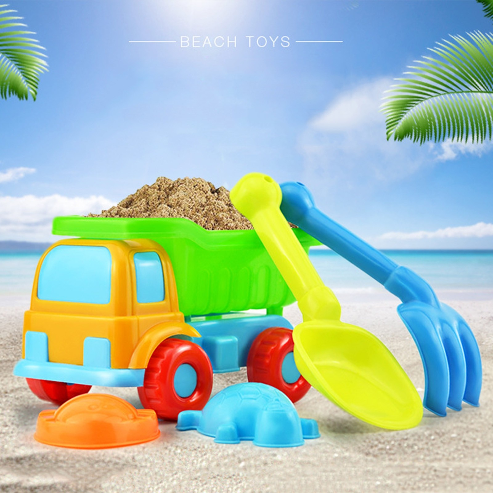 5 Piece Children Beach Toy Car Sand Set Sand Play Sandpit Toy Summer Outdoor Garden Sandbox Set Family Game Play Beach Toys #5 starry sky sand beach toy 18 piece sand set magic space clay sand puzzle power toys