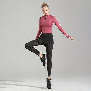 Seamless Women Yoga Set Workout Sportswear Gym Clothing Fitness Long Sleeve Crop Top Leggings Sports Suits With 2-piece set
