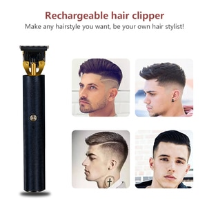 Hair Clipper USB Rechargeable Retro Oil Head Electric Clipper Two-speed Governor Hair Clipper Men Barber Hair Cutting Machine
