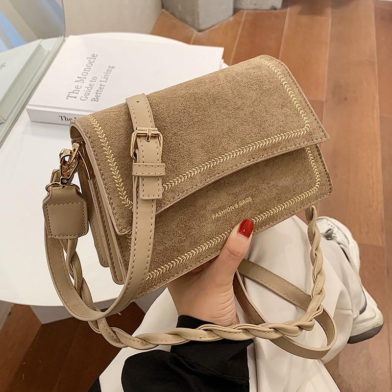 Trending Scrub Leather Crossbody Bags For Women 2020 Winter Brand Designer Shoulder bag small Female Handbags Travel Hand Bag