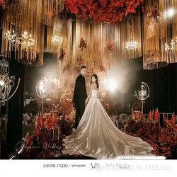 Novo cetro adereços estrada casamento chumbo do candelabro de cristal de ferro forjado estágio evento decoração de exibição da janela
