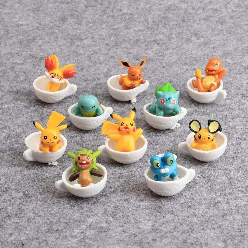 Figuras de acción de Pikachu, lote de 10 unidades de 3-4 cm de PVC, Charmander, Lapras, Bulbasaur