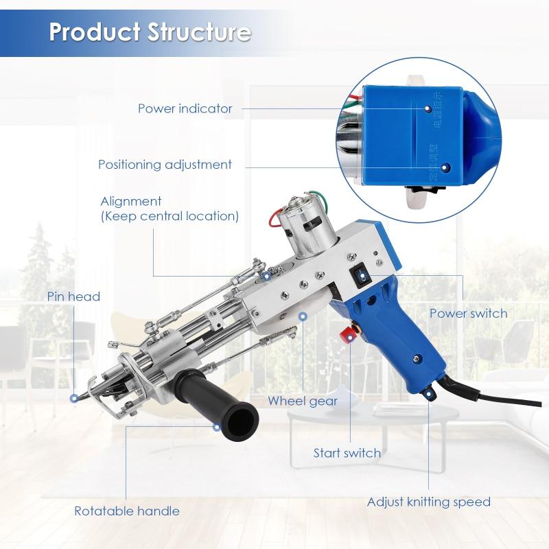 Electric Carpet Tufting Gun Adjustable 7-21mm Carpet Tufting Gun Flocking Machine for High Speed Weaving Cut Pile TD-01 EU Plug enlarge