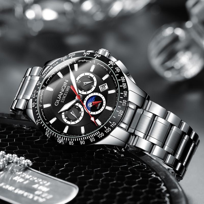 Guanqin Men watches Mechanical  Fashion Sport Waterproof Automatic Male Watches Week Date Business Wristwatch reloj hombre
