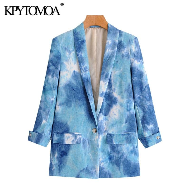 موضة 2021 للنساء من KPYTOMOA معطف قصير مطبوع برباط وأكمام طويلة وجيوب ملابس خارجية نسائية أنيقة