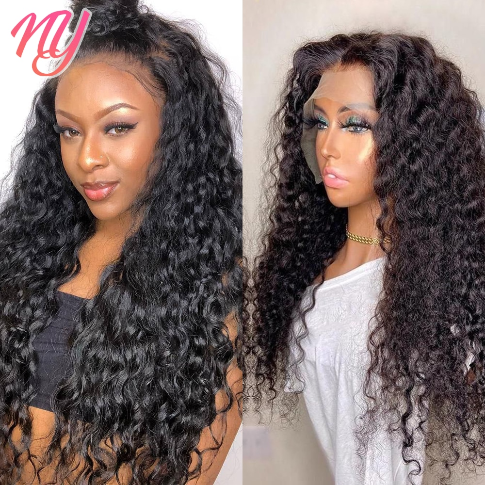 Human hair Remy Deep Wave Wigs Perruque 13x4x1 4x4 Lace Closure Custom Transparent Wig for Black Women 18 20 22 24 26 inch